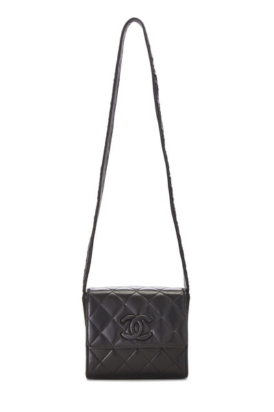 Black Quilted Lambskin Shoulder Bag Small, , large