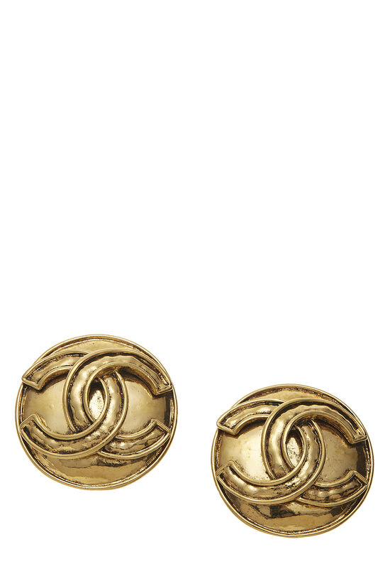 Gold Round 'CC' Earrings Large, , large image number 0