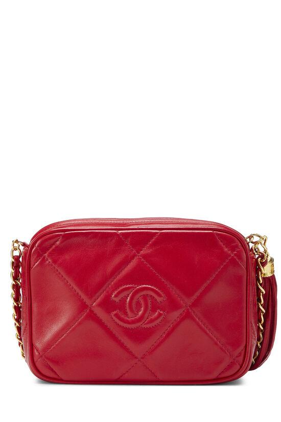Red Lambskin Diamond 'CC' Camera Bag Mini, , large image number 3