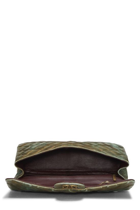 Green & Bronze Quilted Calfskin Half Flap Jumbo, , large image number 5