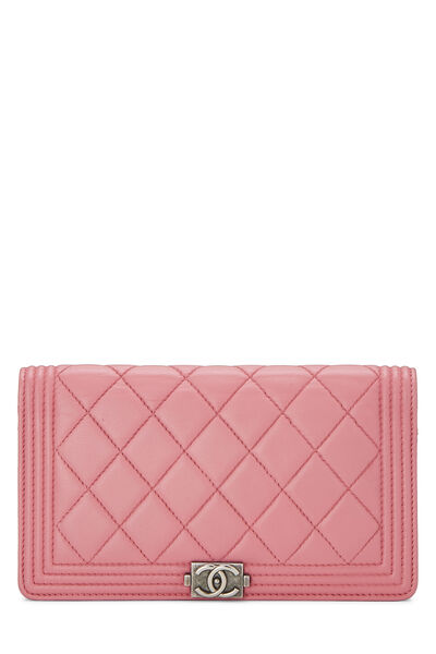 Pink Quilted Lambskin Boy Wallet