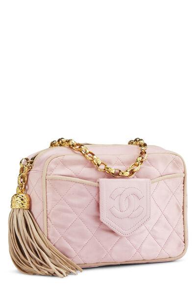Pink Quilted Satin Pocket Camera Bag Mini, , large