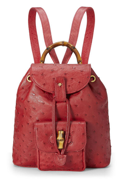 Red Ostrich Bamboo Backpack Mini