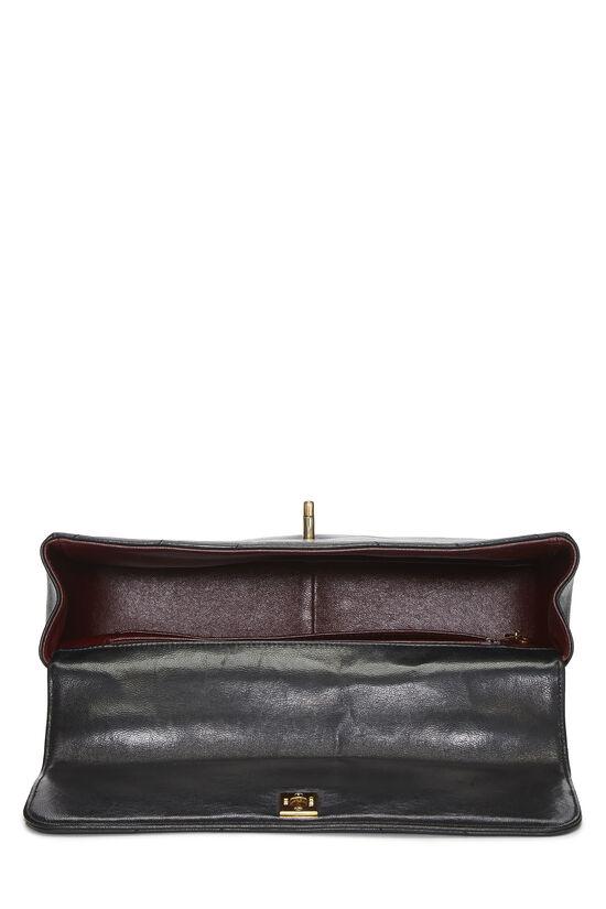Black Chevron Lambskin Top Handle Bag, , large image number 5
