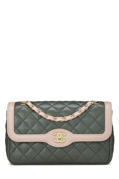 Green & Pink Quilted Lambskin Two Tone Flap Bag Small