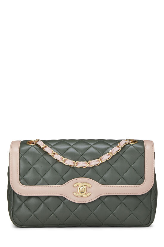 Green & Pink Quilted Lambskin Two Tone Flap Bag Small, , large image number 0