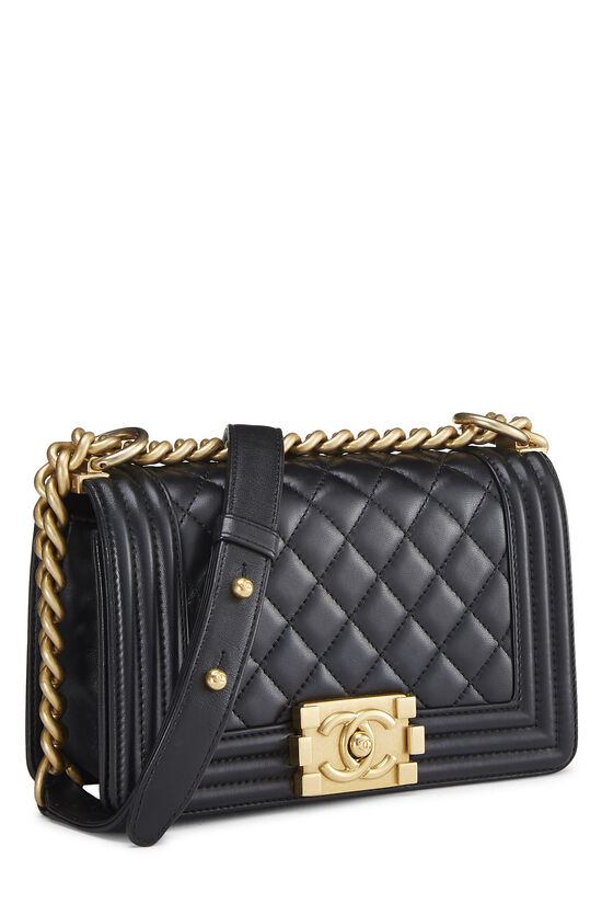 Black Quilted Lambskin Boy Bag Small, , large image number 2