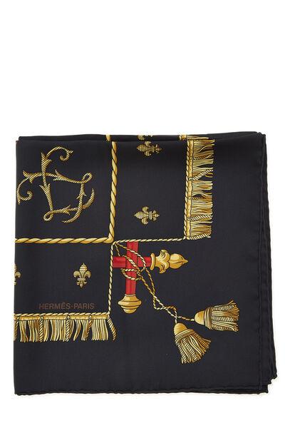 Black & Multicolor 'Vue du Carrosse de la Galère' Silk Scarf 90, , large