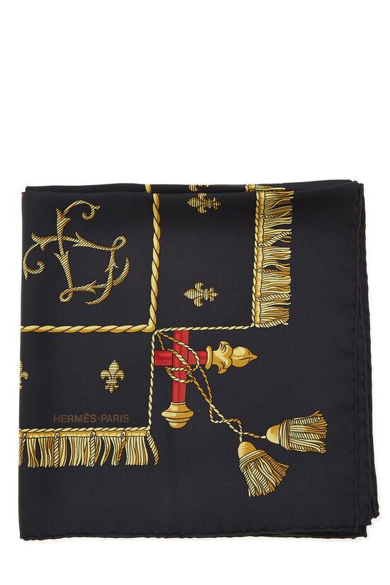Black & Multicolor 'Vue du Carrosse de la Galère' Silk Scarf 90, , large image number 1