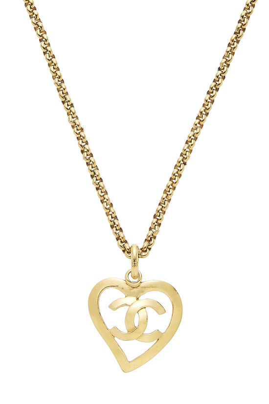 Gold 'CC' Open Heart Necklace, , large image number 1