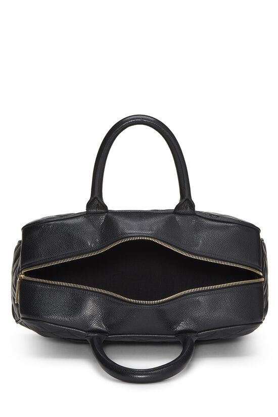Black Quilted Caviar Bowler Small, , large image number 5