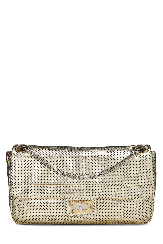 Metallic Gold Perforated Leather 2.55 Reissue Flap 227, , large image number 0