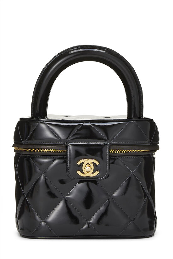 Black Quilted Patent Leather Vanity, , large image number 0