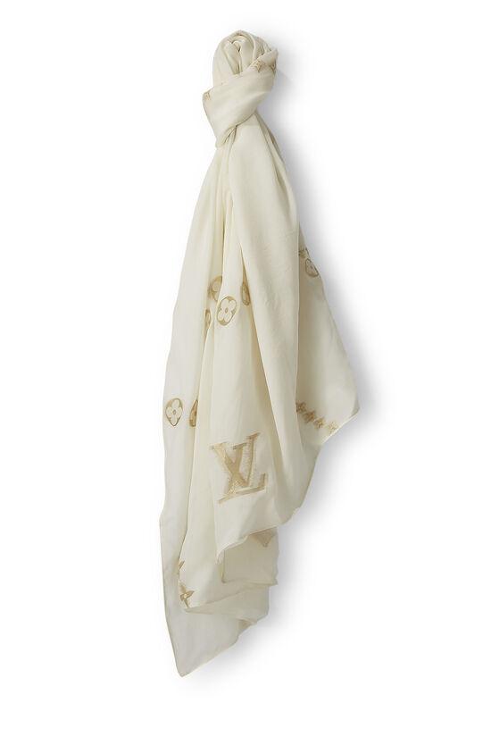 Ivory & Gold Monogram Silk Shawl, , large image number 0