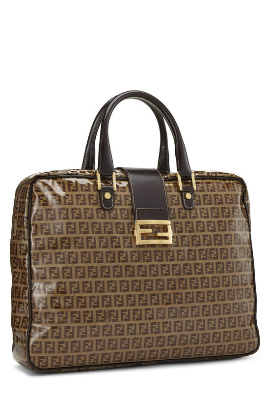 Brown Zucchino Coated Canvas Briefcase, , large image number 1