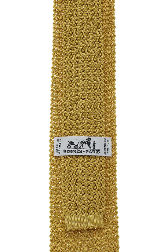 Yellow Silk Knit Tie, , large image number 1