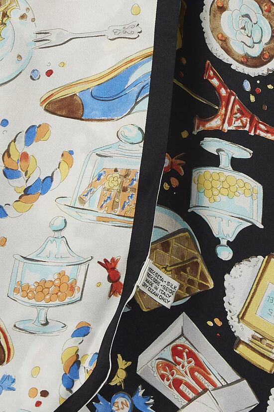 Black & Multicolor Silk Twill Bandeau, , large image number 2