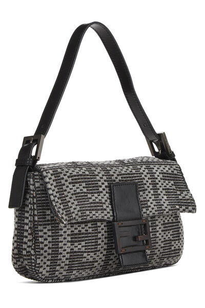 Grey & Back Woven Zucca Baguette, , large