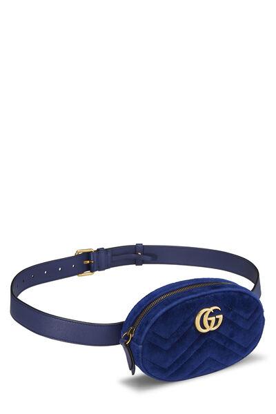 Blue Velvet GG Marmont Belt Bag Mini, , large