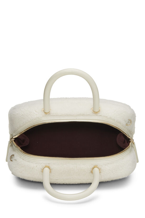 White Shearling Coco Bowling Bag, , large image number 5