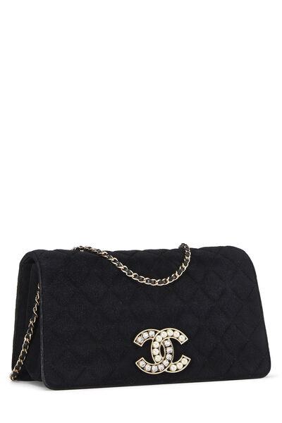 Black Quilted Suede Embellished 'CC' Clutch, , large