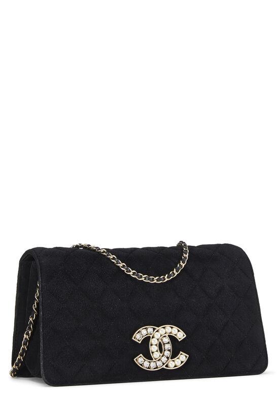Black Quilted Suede Embellished 'CC' Clutch, , large image number 1
