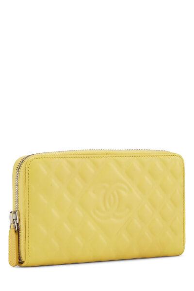 Yellow Lambskin 'CC' Zippy, , large