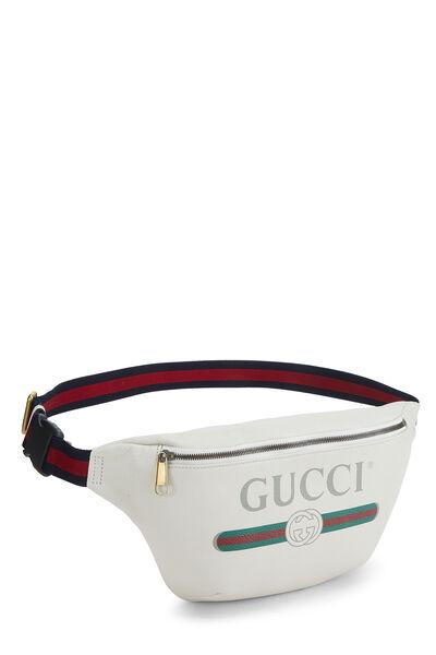 White Leather Logo Belt Bag Small, , large