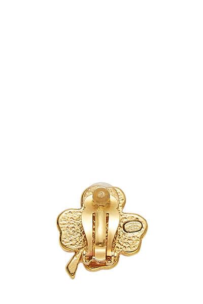 Gold & Pink Enamel Clover Earrings, , large
