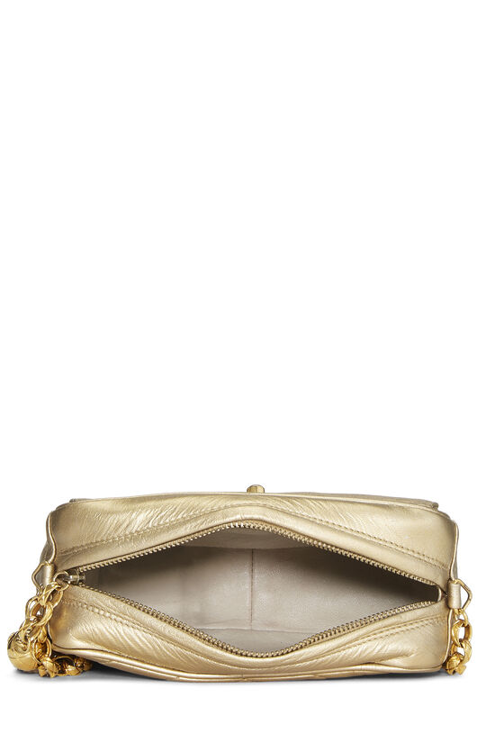 Gold Chevron Quilted Lambskin Pocket Camera Bag Mini, , large image number 6