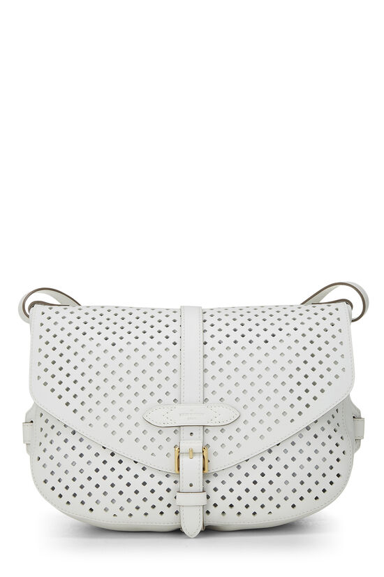 White Perforated Leather Saumur 30, , large image number 0