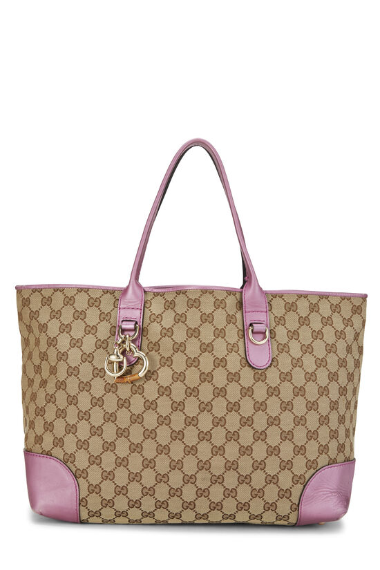 Pink GG Canvas Heart Bit Tote, , large image number 0