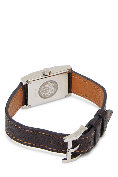 Brown Leather & Stainless Steel Tandem Watch, , large