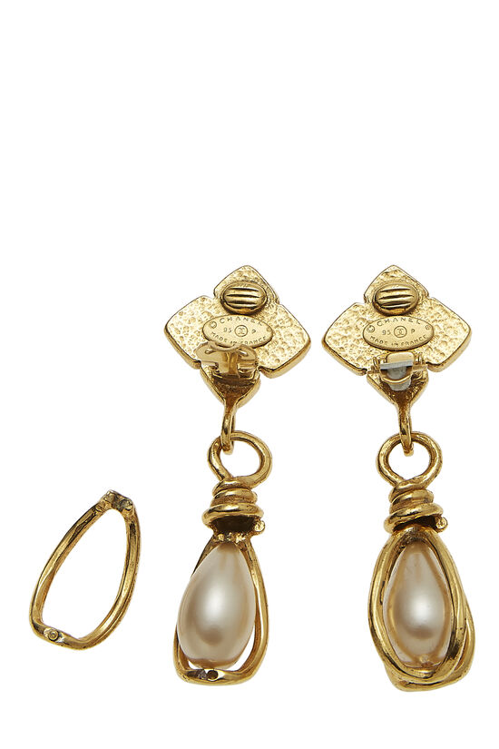 Gold & Faux Pearl Dangle Earring Large, , large image number 2