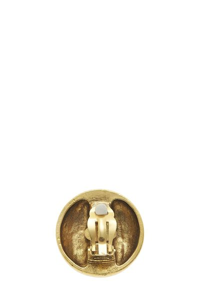 Gold 'CC' Engraved Crystal Clip-On Earrings, , large