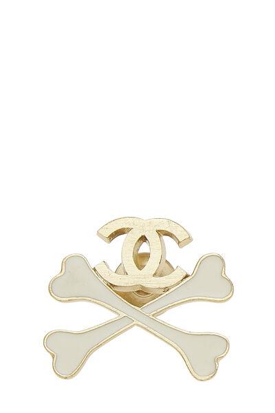 Gold & White Enamel 'CC' Crossbone Pin