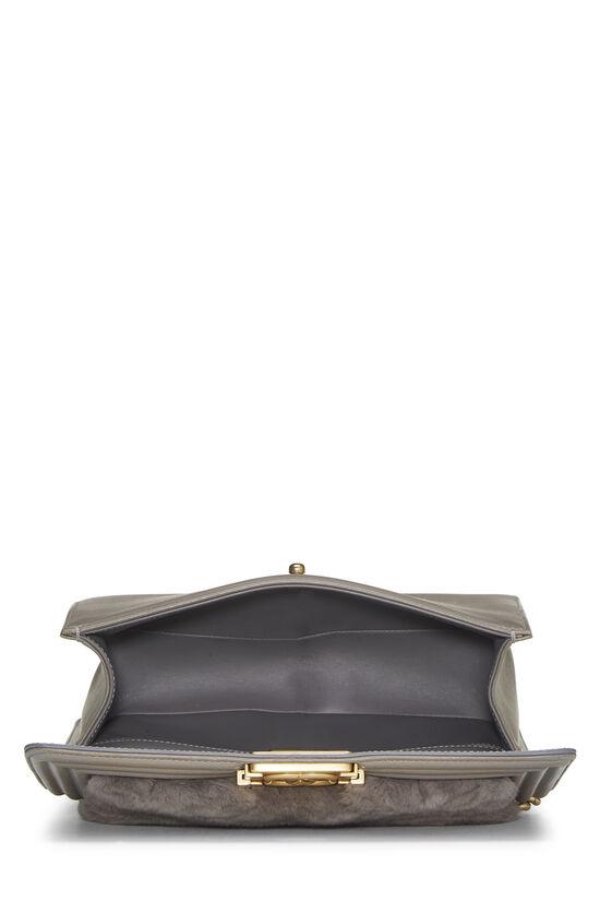 Grey Fur & Calfskin Boy Bag Medium, , large image number 6