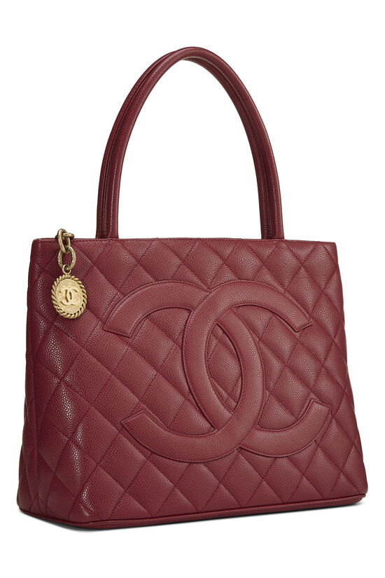 Burgundy Quilted Caviar Medallion Tote, , large image number 1