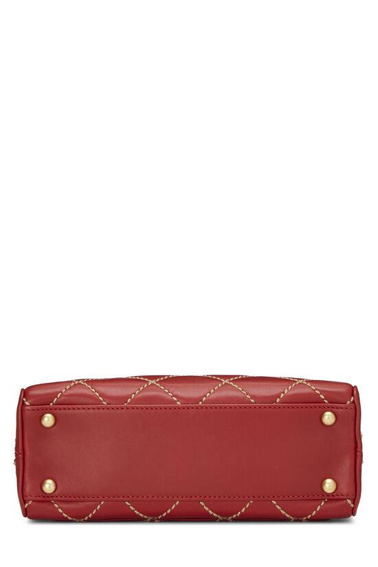 Red Leather Wild Stitch Boston Handbag, , large image number 4