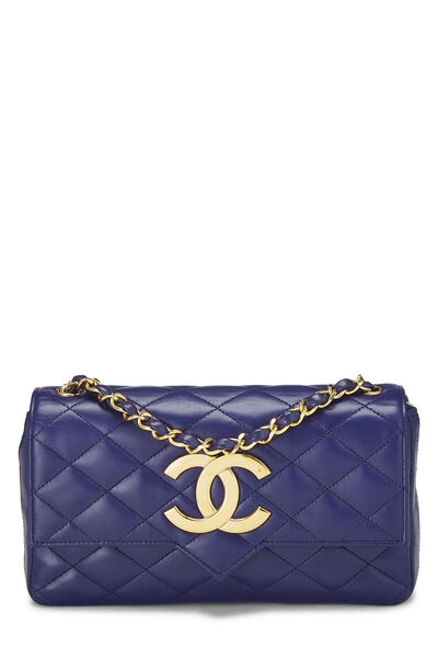Purple Quilted Lambskin Pointed Flap Small