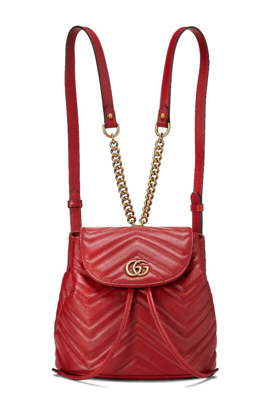 Red Leather 'GG' Marmont Backpack Small, , large image number 0