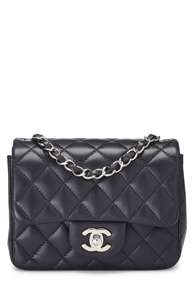 Navy Quilted Lambskin Classic Square Flap Mini