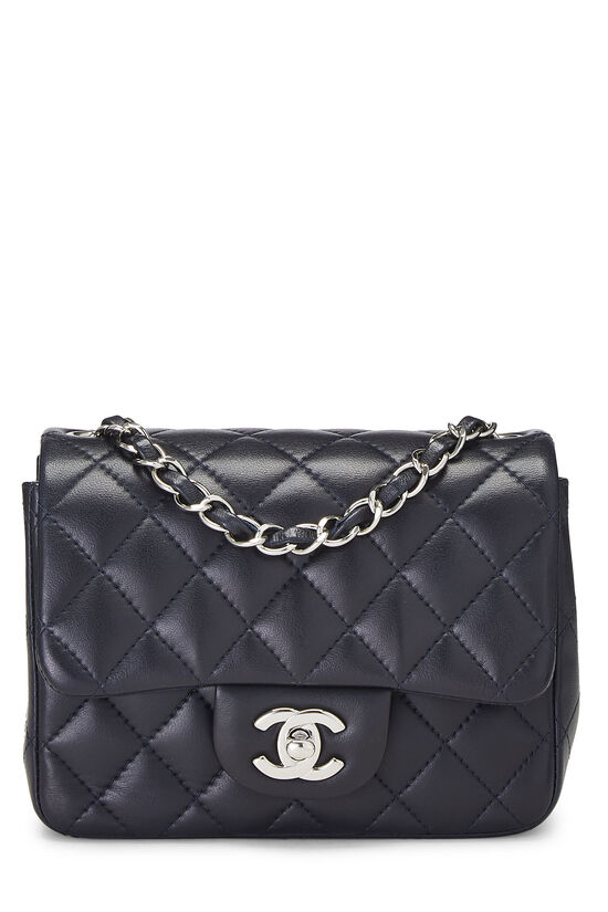Navy Quilted Lambskin Classic Square Flap Mini, , large image number 0