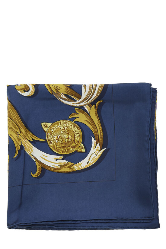 Navy & Multicolor 'Le Mors a la Conetable' Silk Scarf 90, , large image number 1