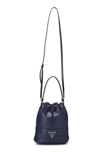 Blue Calfskin Diagramme Duet Shoulder Bag, , large