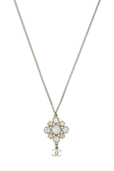 Silver & Crystal Cluster Necklace, , large