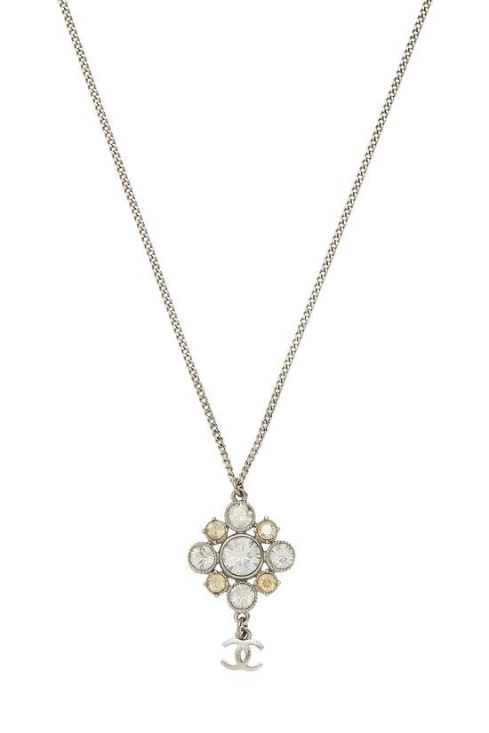 Silver & Crystal Cluster Necklace, , large image number 1
