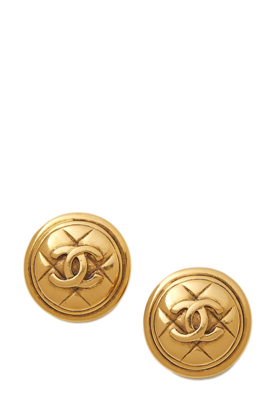 Gold Quilted 'CC' Earrings, , large image number 0