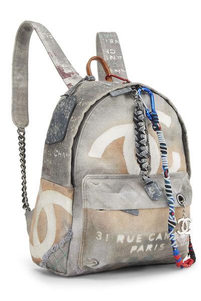 Grey Canvas Graffiti Backpack, , large