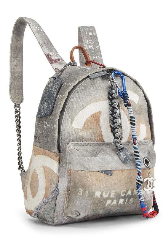 Grey Canvas Graffiti Backpack, , large image number 1